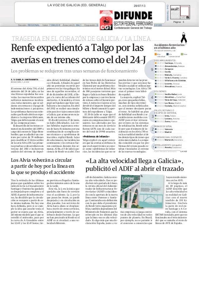 29/07/13LA VOZ DE GALICIA (ED. GENERAL) Prensa: Diaria Tirada: 100.864 Ejemplares Difusión: 88.382 Ejemplares Página: 5 Se...