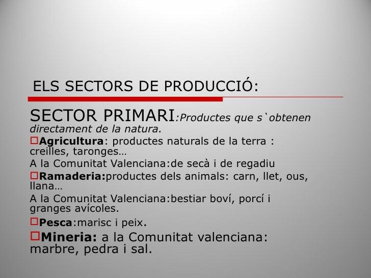 ELS SECTORS DE PRODUCCIÓ:  SECTOR PRIMARI:Productes que s`obtenen directament de la natura. Agricultura: productes natura...