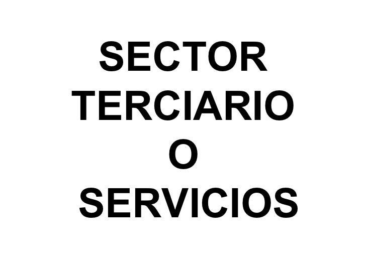 SECTOR  TERCIARIO  O  SERVICIOS