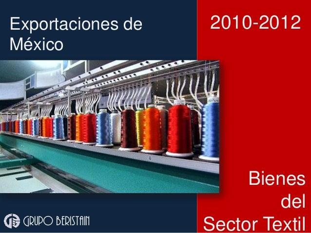 Exportaciones de México Grupo beristain 2010-2012 Bienes del Sector Textil