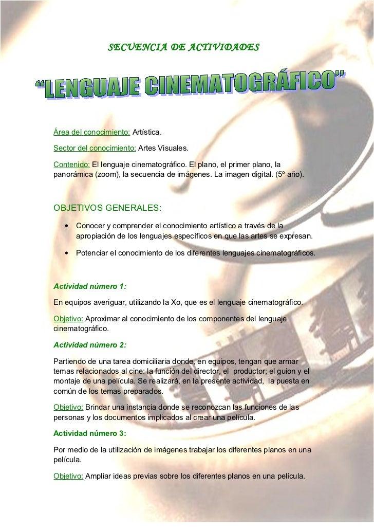 Secuencia de actividades  de lenguaje cinematográfico