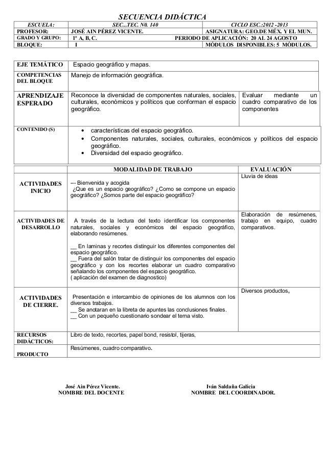 SECUENCIA DIDÁCTICA   ESCUELA:                      SEC...TEC. N0. 140                                CICLO ESC.:2012 -201...