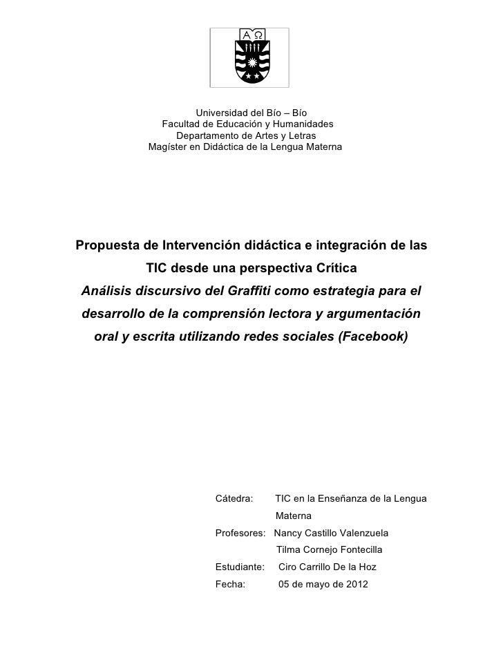 Universidad del Bío – Bío             Facultad de Educación y Humanidades                Departamento de Artes y Letras   ...