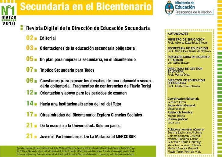 N˚1   Secundaria en el Bicentenariomarzo2010                Revista Digital de la Dirección de Educación Secundaria       ...