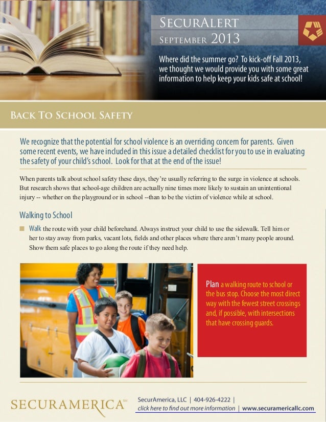 When parents talk about school safety these days, they're usually referring to the surge in violence at schools. But resea...