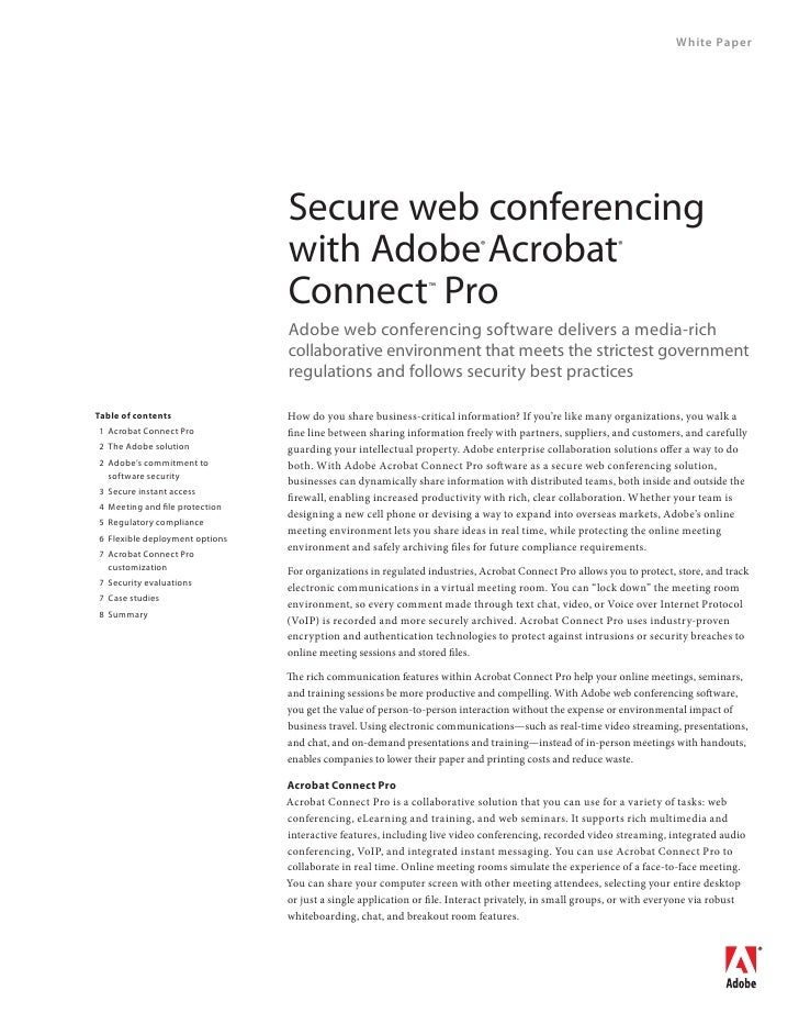 Secure web conferencing with Adobe
