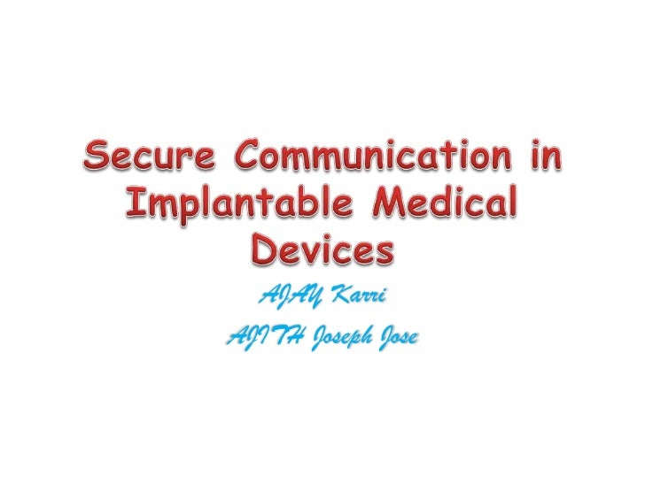 Secure communication in imd