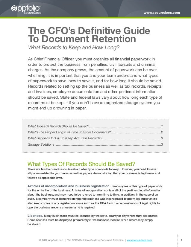 www.securedocs.comThe CFO's Definitive GuideTo Document RetentionWhat Records to Keep and How Long?As Chief Financial Offi...