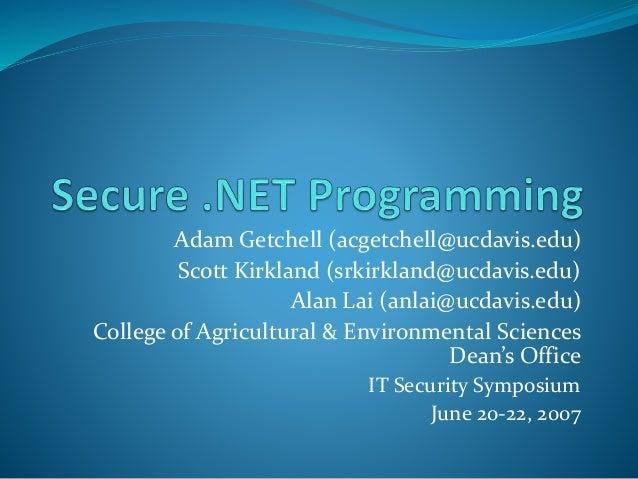 Secure Dot Net Programming