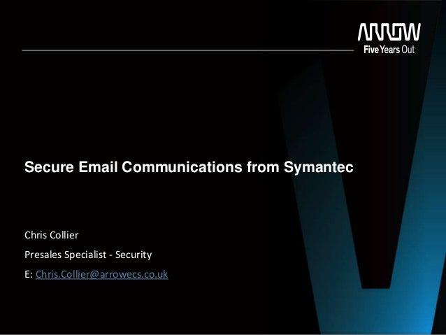 Secure Email Communications from Symantec  Chris Collier  Presales Specialist - Security E: Chris.Collier@arrowecs.co.uk