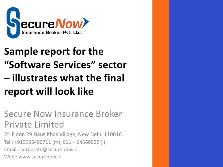 "Sample report for the""Software Services"" sector– illustrates what the finalreport will look likeSecure Now Insurance Broke..."