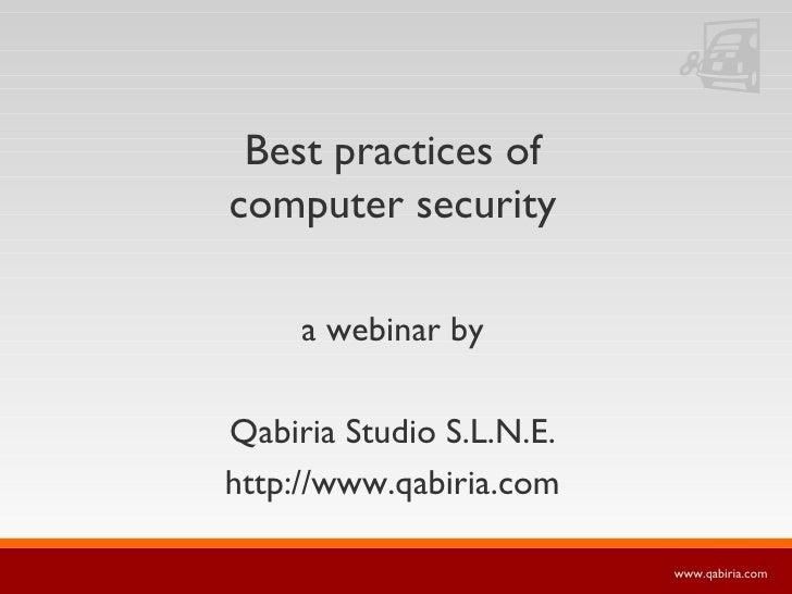 Best practices of computer security