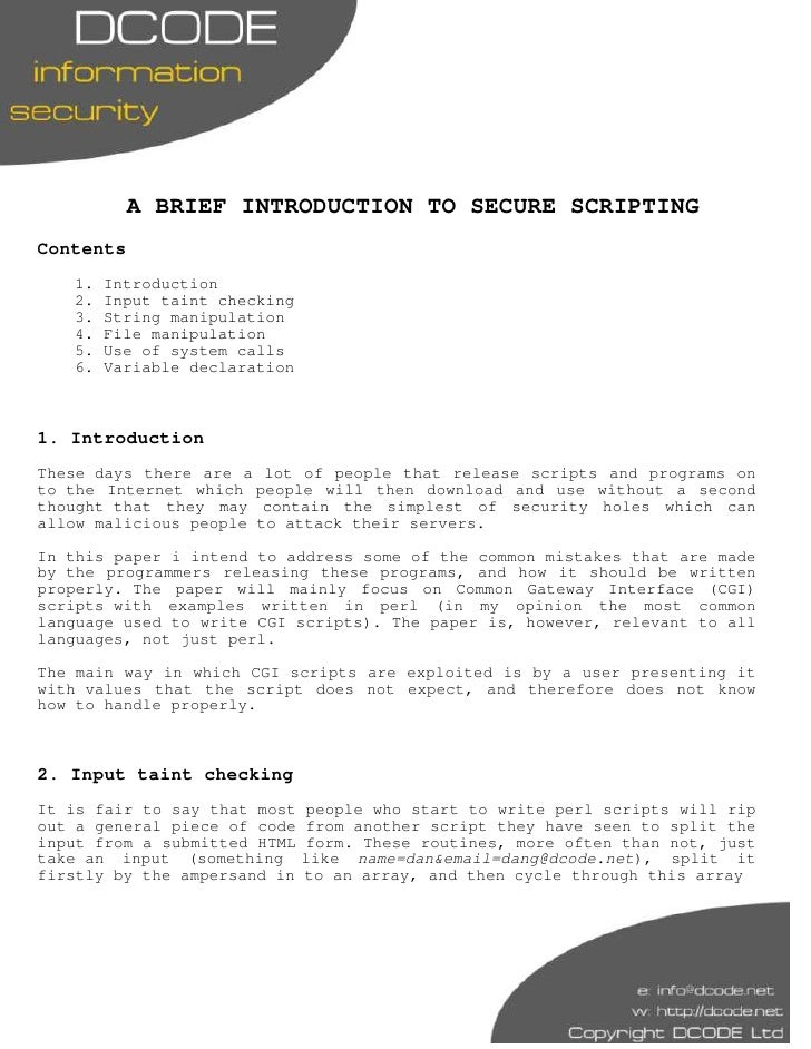 A BRIEF INTRODUCTION TO SECURE SCRIPTING Contents    1.   Introduction    2.   Input taint checking    3.   String manipul...