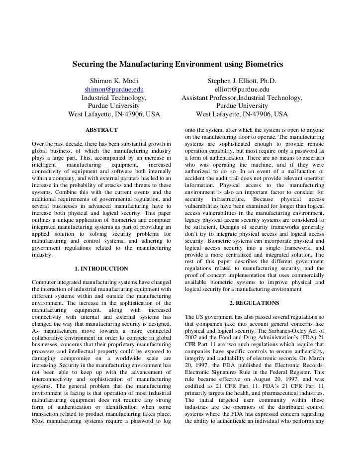 Securing the Manufacturing Environment using Biometrics                        Shimon K. Modi                             ...