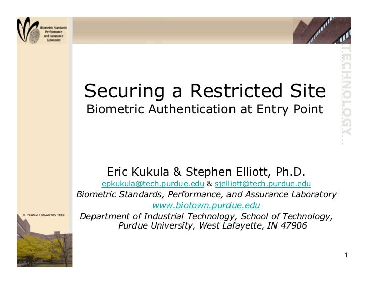 (2003) Biometrics Consortium Conference - Securing Restricted Site
