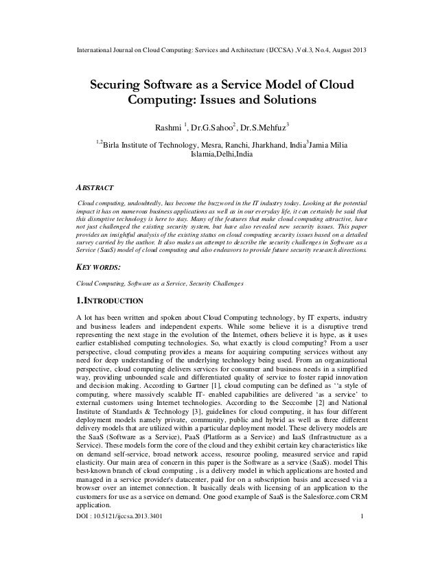 SecSecuring Software as a Service Model of Cloud Computing: Issues and Solutions