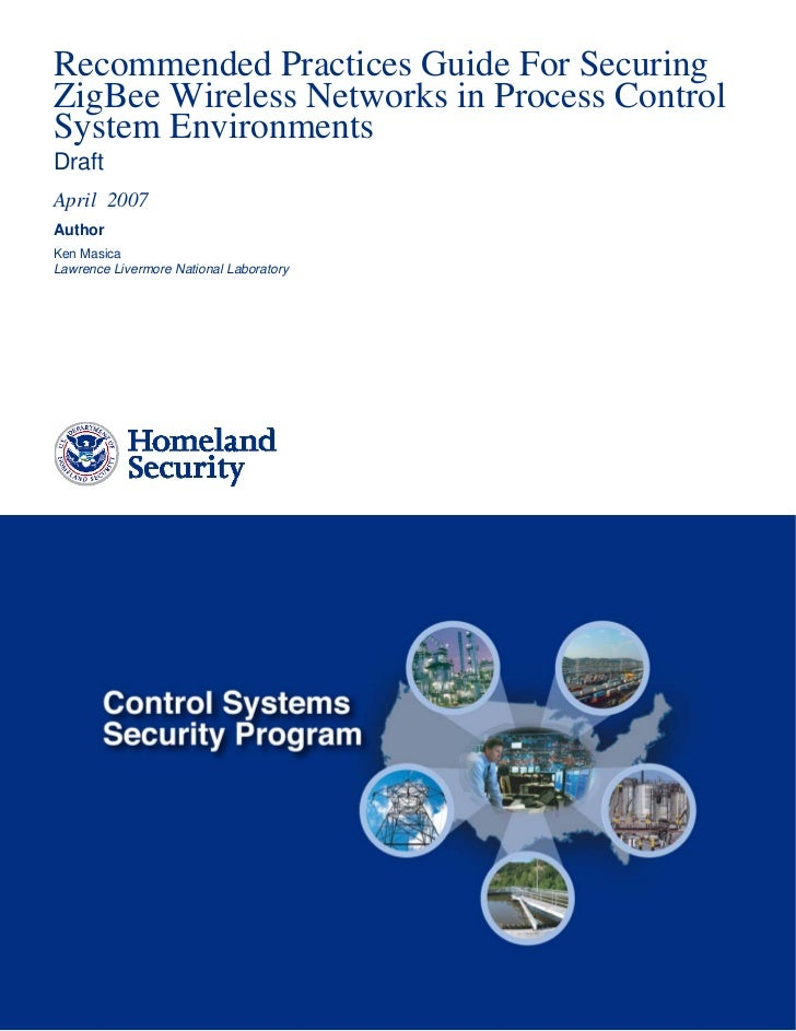 DHS - Recommendations for Securing Zigbee Networks in Process Control Systems