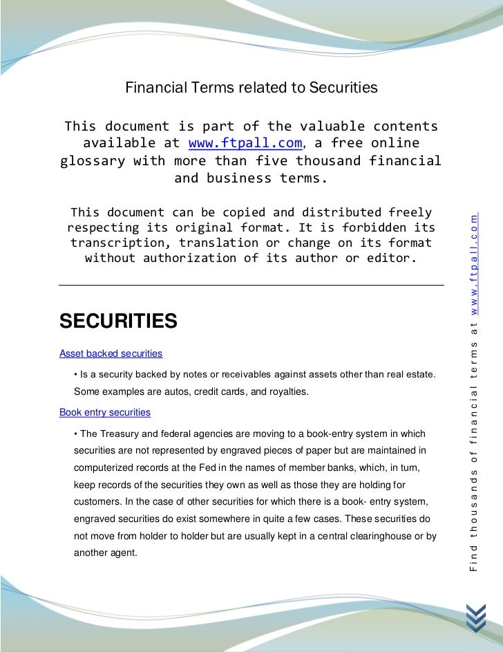 Financial Terms related to Securities This document is part of the valuable contents   available at www.ftpall.com, a free...