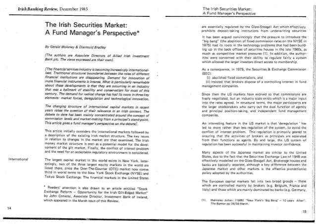 Irish Securities Market - 1985
