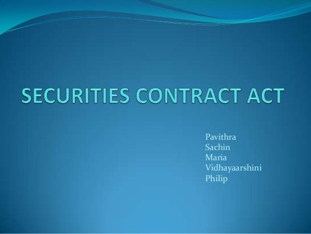 Securities contract act