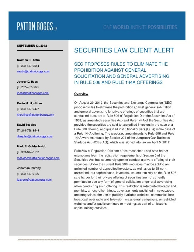 SEPTEMBER 13, 2012                                SECURITIES LAW CLIENT ALERTNorman B. Antin[T] 202-457-6514             ...