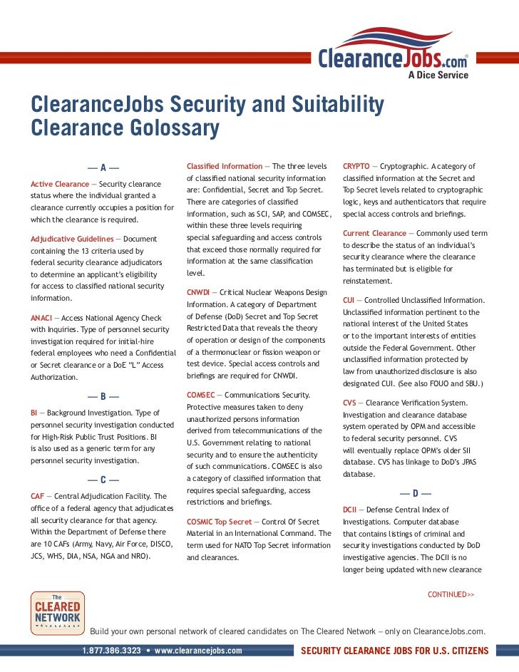 ClearanceJobs Security and SuitabilityClearance Golossary                  —A—                         Classified Informat...