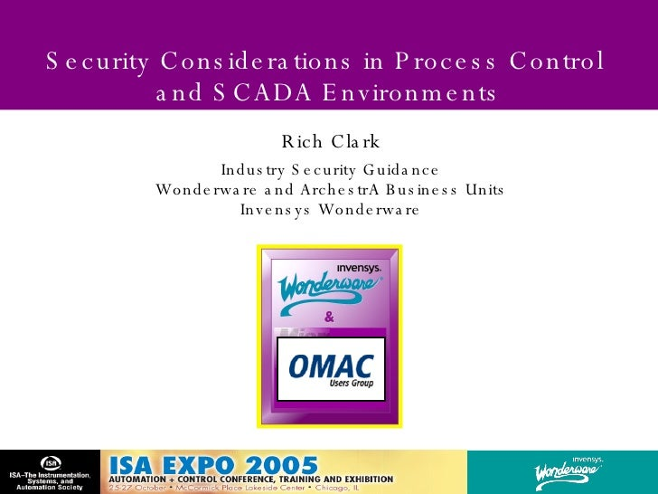 Security Considerations in Process Control  and SCADA Environments Rich Clark Industry Security Guidance Wonderware and Ar...