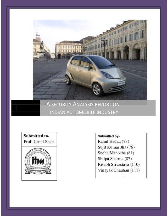 Security analysis report on automobile sector