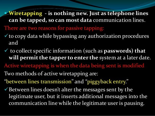ethics of wiretapping If ethical equanimity and consistency with democrats' concerns over wiretapping in the watergate affair are to be maintained, the attorney general should begin such an investigation with all.