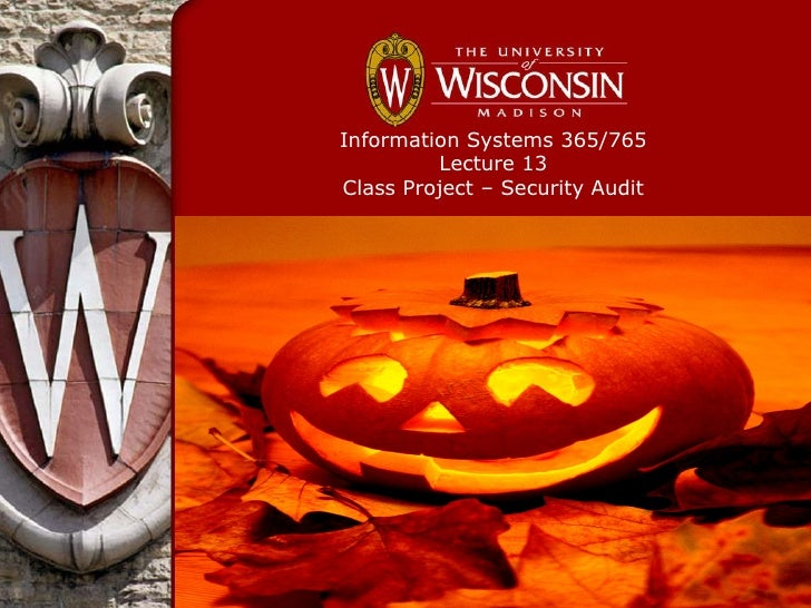 Information Systems 365/765         Lecture 13Class Project – Security Audit