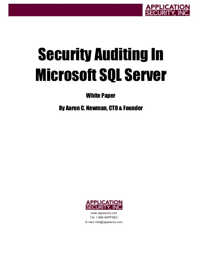 Security Auditing In Microsoft SQL Server