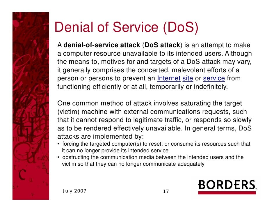 ipremier and denial of service attack case study essay Ipremier – harvard business school case the attack was only a denial of service attack (dos) possibly launched by a competitor or a script kiddie.