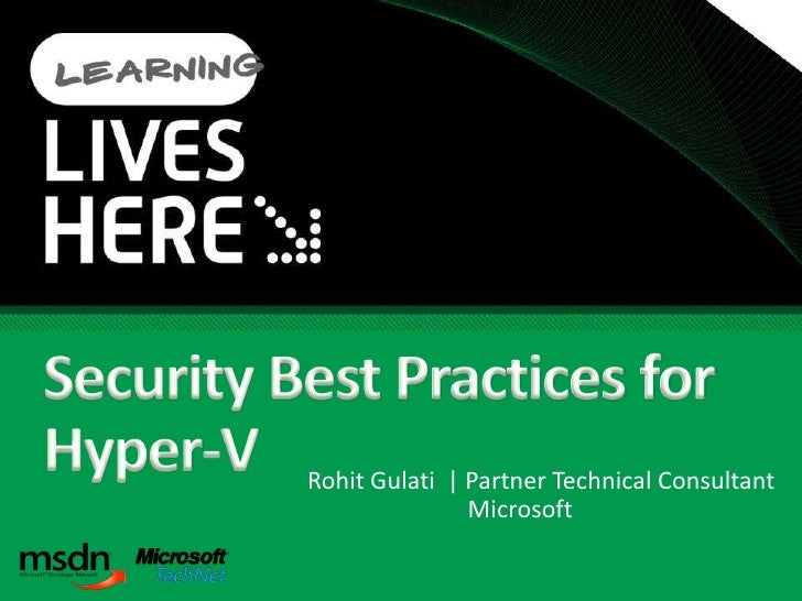 Security Best Practices For Hyper V And Server Virtualization