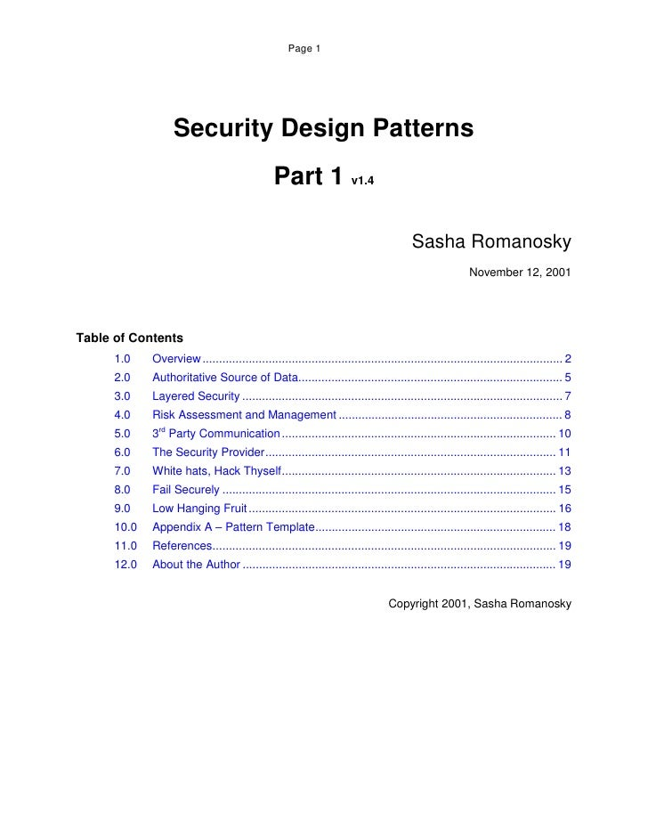 Page 1                        Security Design Patterns                                                Part 1 v1.4         ...