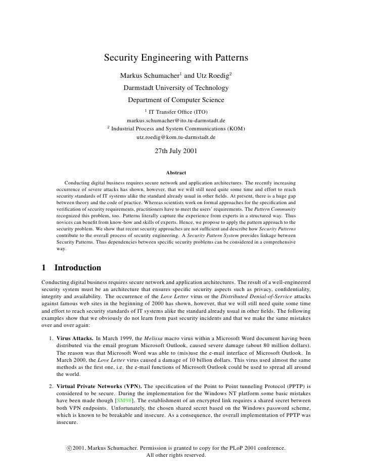 Security Engineering with Patterns                                     Markus Schumacher1 and Utz Roedig2                 ...