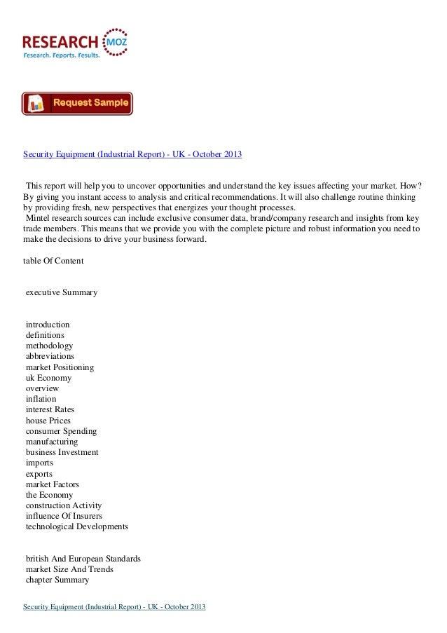 Security equipment (industrial report)   uk - october 2013