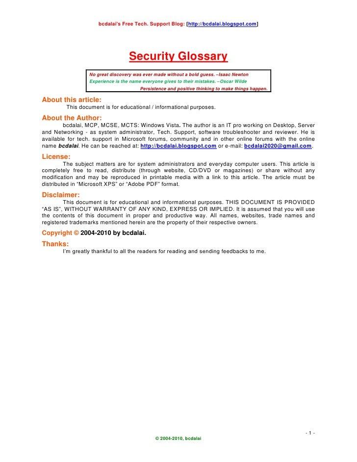 bcdalai's Free Tech. Support Blog: [http://bcdalai.blogspot.com]                                       Security Glossary  ...