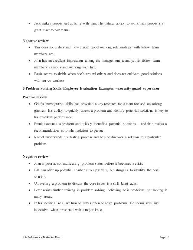 security guard supervisor performance appraisal