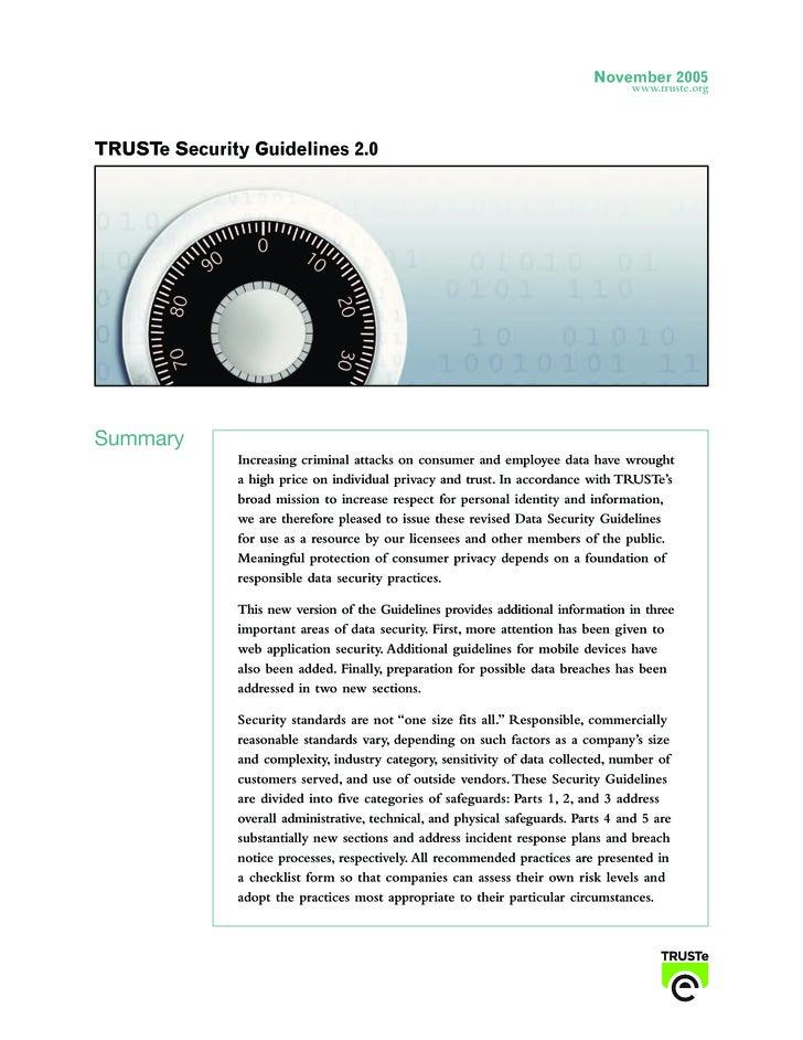 TRUSTe Online Security Guidelines v2.0