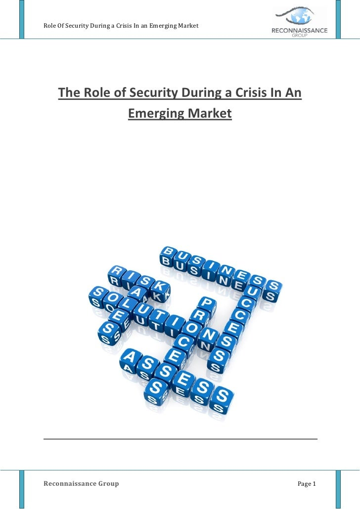Role Of Security During a Crisis In an Emerging Market          The Role of Security During a Crisis In An                ...