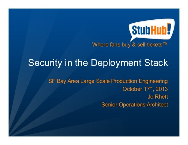 Where fans buy & sell tickets™  Security in the Deployment Stack SF Bay Area Large Scale Production Engineering October 17...
