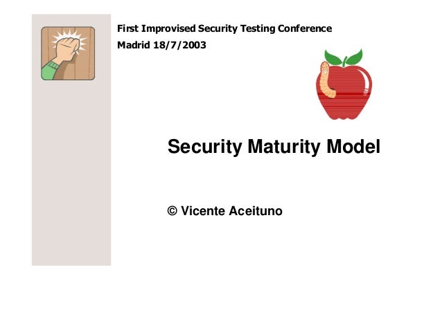 First Improvised Security Testing ConferenceMadrid 18/7/2003          Security Maturity Model          © Vicente Aceituno