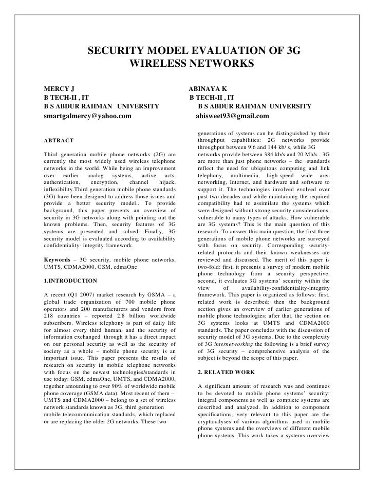 SECURITY MODEL EVALUATION OF 3G                       WIRELESS NETWORKSMERCY J                                            ...