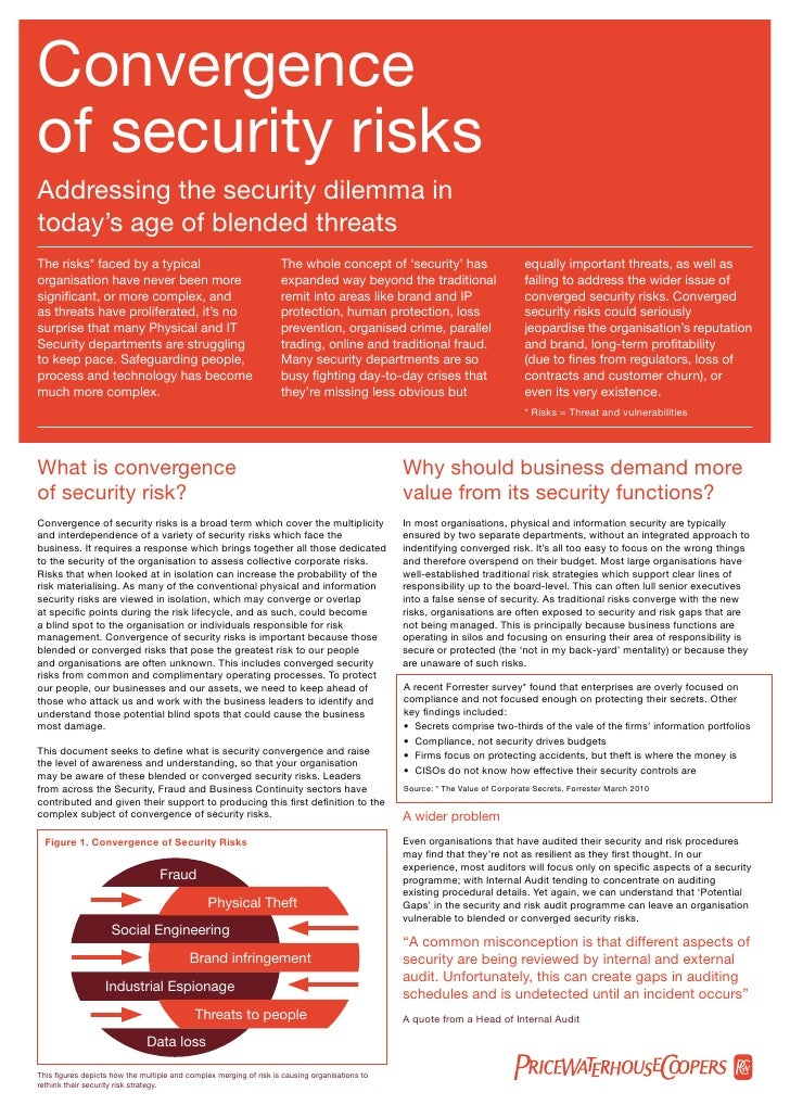 Convergence Section Title  of security risks Addressing the security dilemma in today's age of blended threats The risks* ...