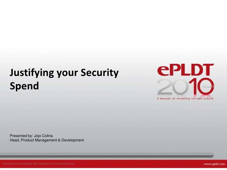 Justifying Security Investment