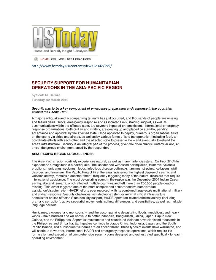 http://www.hstoday.us/content/view/12342/299/SECURITY SUPPORT FOR HUMANITARIANOPERATIONS IN THE ASIA-PACIFIC REGIONby Scot...