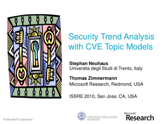 © Microsoft Corporation Security Trend Analysis with CVE Topic Models Stephan Neuhaus Universita degli Studi di Trento, It...