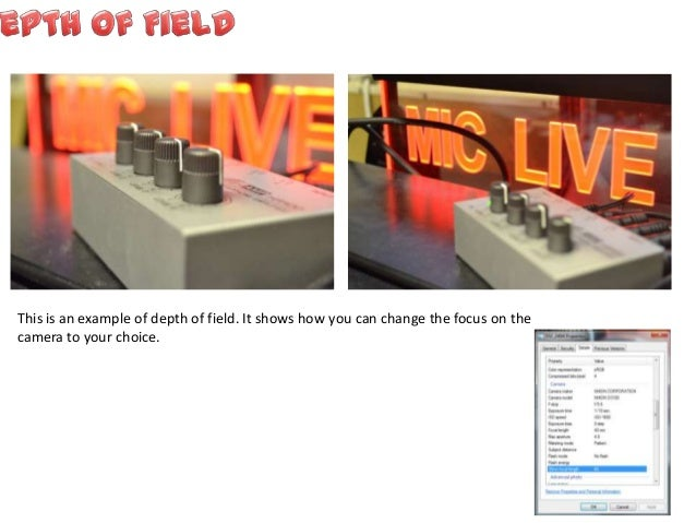 This is an example of depth of field. It shows how you can change the focus on the camera to your choice.