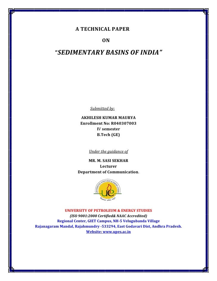 "A TECHNICAL PAPER                                   ON            ""SEDIMENTARY BASINS OF INDIA""                           ..."