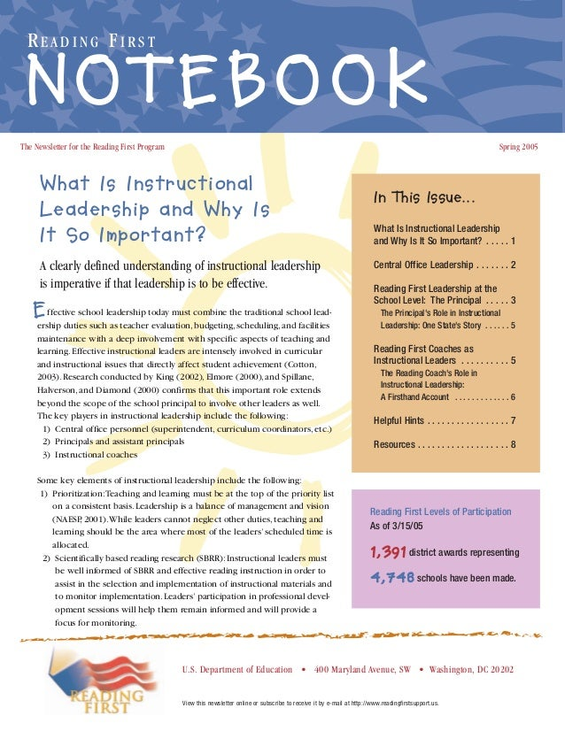 READING FIRST  NOTEBOOK The Newsletter for the Reading First Program  Spring 2005  What Is Instructional Leadership and Wh...